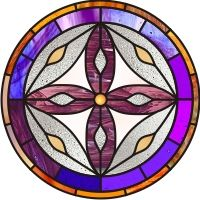 stained glass pattern for chair mahdala from synagogue at Korazim in Galilee Stained Glass Designs, Stained Glass Patterns, Circle Pattern, Bottle Crafts, I Fall In Love, Mosaic Glass, Stone, Mosaic Ideas, Painting