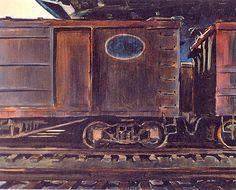 Charles Burchfield (1893-1967)-Freight Cars Under a Bridge 1933