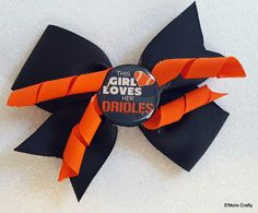 """Baltimore Orioles """"This Girl Loves Her Orioles"""" Orange & Black Grosgrain Ribbon Hair Bow, Oriole Barrette, Maryland MD O's Clip MLB Baseball by SmoreCrafty on Etsy"""
