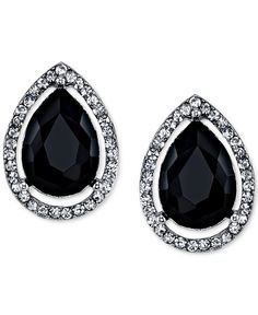 2028 Silver-Tone Black Stone and Pave Stud Earrings