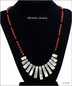"1.5"" Pendant, 19.5"" Necklace - Mother of Pearl Stick Bib Pendant, 4mm Red Coral Beads, Bronze & Black glass beads, Sterling silver Clasp #martianajewelry  amazon.com/handmade/MartianaJewelry"