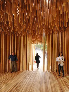 In 2008 The American Hardwood Export Council supported an installation entitled Sclera for the London Design Festival. Designed by David Adjaye and made from American Tulipwood as part of Size + Matter at the Southbank Centre. Timber Architecture, Architecture Details, Timber Structure, London Design Festival, Ceiling Design, Installation Art, Facade, Sculpture, Interior Design