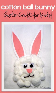 Cotton Ball Bunny Easter Craft for Kids Easter Activities, Craft Activities, Preschool Crafts, Preschool Age, Activity Ideas, Children Activities, Craft Ideas, Spring Activities, Preschool Ideas