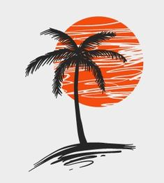 Free Vector of the Day Palm Tree - New Tattoos, I Tattoo, Cool Tattoos, Tatoos, Design Tattoo, Tattoo Designs, Tropical Tattoo, Palm Tree Drawing, Desenho Tattoo