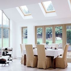 Double-height conservatory This airy, open-plan conservatory is a natural home for an elegant dining area overlooking the garden. Kitchen Orangery, Conservatory Kitchen, Conservatory Roof, Interior S, Interior Design, Galley Wall, 25 Beautiful Homes, My Ideal Home, Elegant Dining