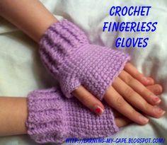 Earning-My-Cape: Kids Fingerless Gloves (free crochet pattern)   http://earning-my-cape.blogspot.com/2012/07/kids-fingerless-gloves-free-crochet.html
