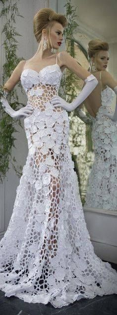 Crocheted wedding dress patterns crochet wedding dress latest 55 sexy wedding dresses to make the day colorful junglespirit Image collections