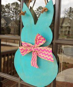 Easter Door Hanger Easter Bunny Door Hanger by KnockinOnWood, $28.00