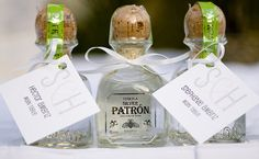Mini bottles of Patron tequila made fun Mexican-inspired favors for the couple's guests. Edible Wedding Favors, Party Favors, Our Wedding, Dream Wedding, August Wedding, Wedding Tables, Perfect Wedding, Wedding Stuff, Wedding Bottles