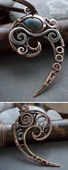 Mixed metal wire wrapped spiral necklace