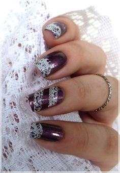 lace stamping nailart