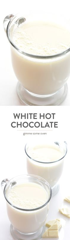 This Homemade White Hot Chocolate recipe is super easy to make with 3 ingredients, and it's way cheaper than the coffee shop version! Molho Gravy, Torta Zebra, Hot Chocolate Recipes, Chocolate Smoothies, Chocolate Shakeology, Lindt Chocolate, Chocolate Drizzle, Chocolate Crinkles, Chocolate Coffee