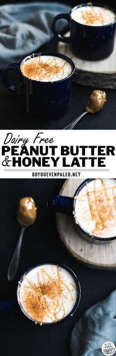 Dairy Free Peanut Butter & Honey Latte Recipe - make this coffee-shop inspired latte at home with your choice of non-dairy milk! This gluten free recipe is the perfect marriage between PB & honey. A touch of cinnamon brings it all together. With paleo options, this clean eating recipe is a healthy take on coffee shop drinks. | DoYouEvenPaleo.net #glutenfree #coffee #doyouevenpaleoai