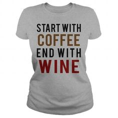 Coffee and Wine T Shirts, Hoodies. Check price ==► https://www.sunfrog.com/Drinking/Coffee-and-Wine-Sports-Grey-Ladies.html?41382 $19