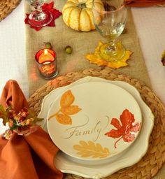 Tisch Dekorieren-Herbst Geschirr-Glas Untersetzer-Blatt Windlichter