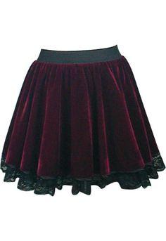 Black and red velvet high-waist skirt