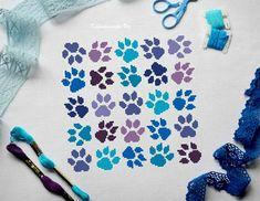 Blue Paws. Cross Stitch Pattern PDF  Instant download Paw