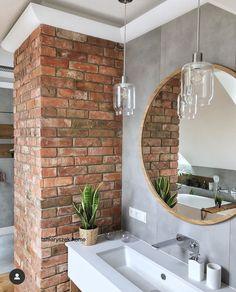 future home design Brick Bathroom, Bathroom Interior, Small Bathroom, Basement Remodel Diy, Basement Remodeling, House Extension Design, House Design, Loft, Model House Plan