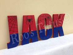 Spiderman inspired hand painted wooden letters (15cm) by ItsRoosTutus on Etsy https://www.etsy.com/listing/223069689/spiderman-inspired-hand-painted-wooden