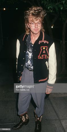 Musician Brian Setzer of the Stray Cats sighted on January 17, 1991 at Spago Restaurant in Hollywood, California.