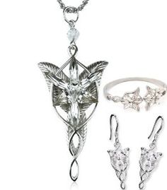 Amazon.com: Tanboo Arwen Evenstar Necklace Earrings Bracelet Jewelry Set,The Lord Of The Rings Jewelry Set,with Tanboo Card and Annagle Necklace: Sports & Outdoors
