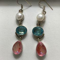 Earrings .925 silver with rainbow Quartz, blue Quartz and river pearl earrings. NWOT Jewelry Earrings