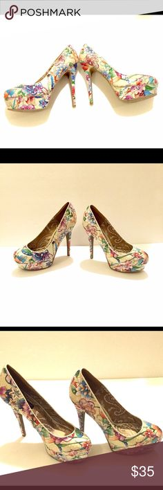 "listing! Amazing Stilettos!! Size 8.5 Amazing Lornah Platform Stilettos by Dollhouse. Ivory floral motif with iridescent sequins. These are absolutely stunning. Like-new condition. The heel measures at 6"" with the platform 1 3/4"". Dollhouse Shoes Heels"