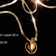 GOLD n PEARL NECKLACE  14K 135.00 20 inch cHAIN by PetiesPorch on Etsy