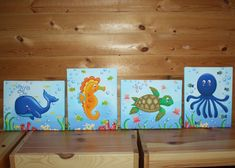 Set of 4 Ocean Animals Kids Bedroom 8x10 by LittleMonkeyDoodles, $80.00.... Maybe an under the sea theme??? Love these!
