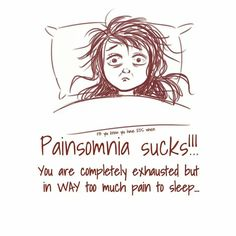 Pain + insomnia= painsomnia. Pretty much every night.