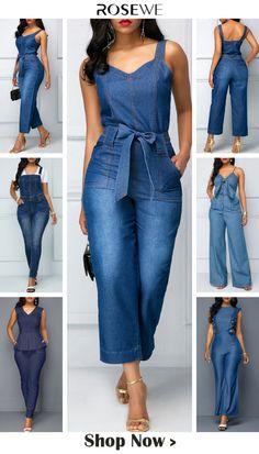 jumpsuits For Women Blue Fashion, Denim Fashion, Fashion Looks, Fashion Outfits, Fashion Heels, Fashion Sites, Fashion Tips For Women, Womens Fashion, Stil Inspiration