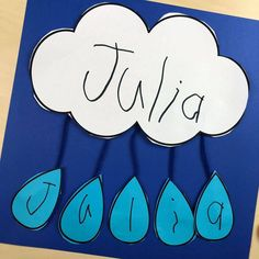 Weather Activities and Centers - Pocket of Preschool - Weather Theme - Rain name craft! All our favorite weather themed activities (literacy, math, STEM, science, sensory - Weather Activities Preschool, April Preschool, Preschool Names, Pre K Activities, Preschool Lessons, Preschool Art, Water Theme Preschool, Spring Craft Preschool, Childrens Crafts Preschool