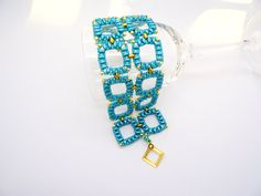 Tutorial Square Link Bracelet Pattern Superduo Twin Hole Beads