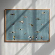 Swimmers poster from Fine Little Day - NordicNest.com Cuadros Diy, Day Designer, New Poster, Danish Design, Blue Backgrounds, Original Image, Scandinavian Design, Design Art, Graphic Design