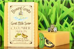 """""""Cucumber Melon"""" Goat Milk Soap. Possibly the best pairing since chocolate & peanut butter, Mickey & Minnie, Barbie & Ken, Bert & Ernie, Hansel and Gretel, Tarzan & Jane, Harry & Sally, Milli & Vanilli (may want to forget about that one...)."""