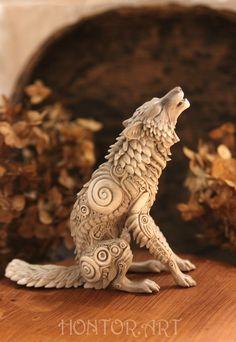 Wolf Figurine Animal Totem Fantasy Sculpture polymer clay animals velvet clay Blue Orange Miniature from resin casting Polymer Clay Sculptures, Polymer Clay Animals, Ceramic Animals, Sculpture Clay, Metal Sculptures, Bronze Sculpture, Animal Totems, Animal Sculptures, Wolf Sculpture