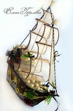 Gallery.ru / Фото #22 - тематические композиции - buket-iz-konfet-on-Don Candy Flowers, Plant Hanger, Macrame, Origami, Packing Ideas, Holiday Decor, Wedding, Decoration, Boats