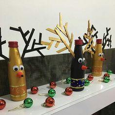 Natal sustentável! Feliz Natal! #Christmas sustainable! #decoracaointeriores#nataldecorado #garrafasdenatal#presentecriativo#garrafasdecoradas#artesanatos#decor#natal2016#