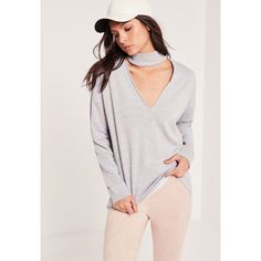 Missguided Choker Neck Sweatshirt ($35) ❤ liked on Polyvore featuring tops, hoodies, sweatshirts, grey, gray top, oversized sweatshirts, gray sweatshirt, grey sweatshirt and polyester sweatshirt