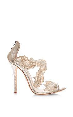 Ambria Metallic Leather Lace Sandals by Oscar de la Renta - Moda Operandi