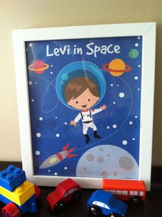 Excite the children in your life with a personalized character in outer space wearing an astronaut uniform. They will love a cartoon of themselves flying through space. This makes a great gift for the little boy in your life. This is a printable 8 x 10 Personalized wall art print of my original illustration. Watermark removed upon purchase. Simply add your childs name or phrase in checkout and I will then add it to the design and email you the jpeg file that you can print yourself. I…