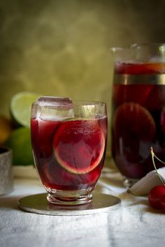 Ruby Red Cherry-Citrus Sangria | 1 (750) bottle rosé wine  1 cup Chambord or other quality cassis or blackberry liqueur  1 cup 100% cherry juice (no sugar added)  1/2 cup cherry herring  1/2 cup orange juice  2 cups cherries, pitted and halved  1 small orange, halved and thinly sliced  1 lime, cut into thin rounds  2 cups chilled club soda