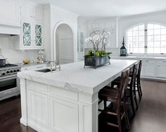 Beautiful, elegant, simple whit kitchen.