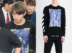 Wanna One Woojin (우진) wore black longsleeve tee at Incheon Airport on the way to Bangkok It is the Off-White C/O Virgil Abloh Caravaggio-print cotton-jersey T-shirt. Get them HERE for $250 Available from : Selfridges – $250 Related Posts170904 BLACKPINK ROSÉ Wears...