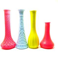 vintage milk glass vases painted neon