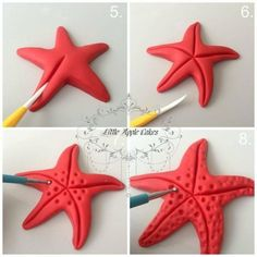 starfish tutorial estrela do mar Polymer clay sea stars tutorial – step by step Polymer clay starfish- I would much prefer to make them than use ones that have been killed! Baby Boom Serbia: Svasta - something of fondant Related posts Best friend photo Mermaid Birthday Cakes, Mermaid Cakes, Fondant Toppers, Fondant Cupcakes, Cupcake Toppers, Polymer Clay Crafts, Diy Clay, Decors Pate A Sucre, Diy And Crafts