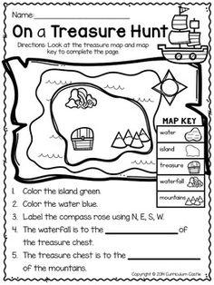 Kindergarten Social Studies, Social Studies Worksheets, Social Studies Activities, School Worksheets, Teaching Social Studies, School Resources, 3rd Grade Social Studies, Pirate Activities, Map Activities