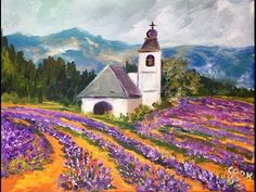 How to Paint Lavender Fields in Provence France with Ginger Cook Beginner Acrylic Painting Tutorial - YouTube