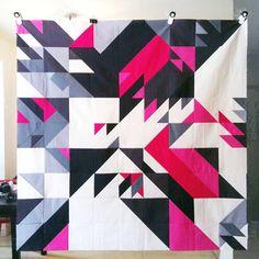"Joshua Davis Studios - I made this with Joshua Davis. 'Triangle Sex in Pink' quilt top. 72""x72"""