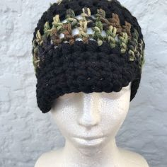 "61 Likes, 3 Comments - ParlezVousCrochet (@parlezvouscrochet) on Instagram: ""Crochet cap size small Black n fatigue"""
